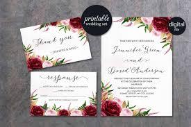 wedding invitations burgundy floral wedding invitation marsala wedding invitation pink
