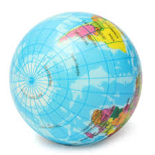 Labeled World Map by Earth Globe Planet World Map Foam Stress Relief Bouncy Press Ball