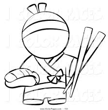 vector coloring page of a black and white japanese chef with huge
