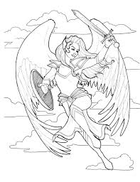 valkyrie dangerous women coloring book page by indigowarrior on