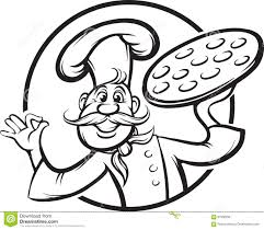 whiteboard drawing cartoon pizza chef mascot stock vector