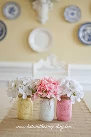 set of 3 painted mason jars baby yellow white pink home decor set of 3 painted mason jars baby yellow white pink home decor mantel decor nursery girls room vase wedding decor centerpiece