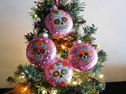 sugar skulls decorated glass ornaments set of 4 my