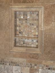 Travertine Tile Ideas Bathrooms Shower Niche Glass Shelf Ours Is Almost Completed Still Need To