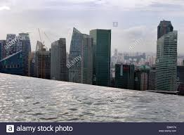 the rooftop infinity pool and singapore skyline at marina bay