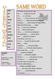 same words different meanings english worksheets same word different meaning
