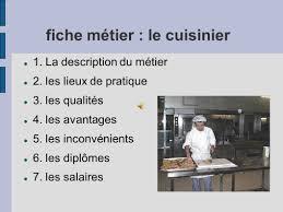 fiche metier cuisine fiche métier le cuisinier ppt télécharger