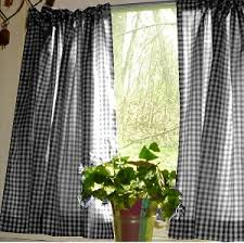 Black Gingham Curtains Gingham Kitchen Caf礬 Curtain Unlined Or With White Or Blackout