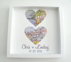 wedding gift map heart shaped map canvas with your 3 location heart map