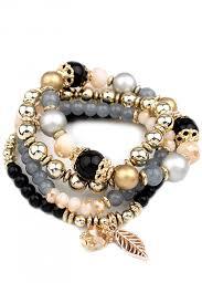 elastic bead bracelet images Fashion leaf pendant elastic stretch beaded bracelet oasap stretch jpg
