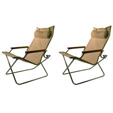 Canvas Sling Back Chairs by Pair Uchida Folding Canvas Chairs With One Ottoman At 1stdibs