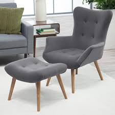 chairs with ottomans for living room amazon com belham living matthias mid century modern chair and