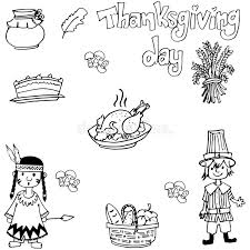 doodle of thanksgiving indian and food stock vector