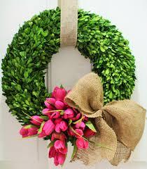 spring wreath silk tulip wreath boxwood wreath preserved