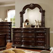 marble top dresser bedroom set furniture of america goodwell traditional 2 piece brown cherry