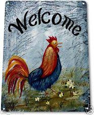 mayrich company home decor large tin embossed rooster welcome sign mayrich company