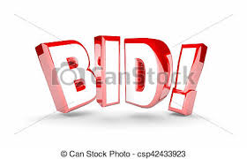 buy and bid bid auction buy item product high price win word 3d clip