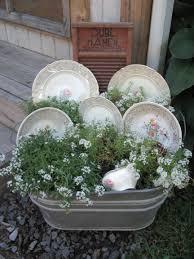 vintage wash tub flower arrangement just put this together last