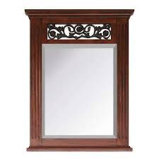 cherry wood bathroom mirror cherry bathroom mirrors bath the home depot