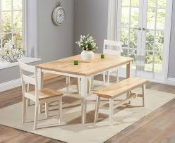 Charming White Dining Room Table With Bench And Chairs  For - Dining room chairs and benches