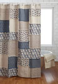 millie shower curtain creme country cottage blue