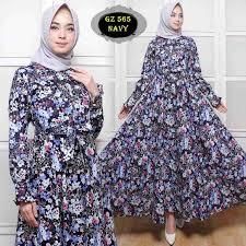 Baju Muslim Dewasa Ukuran Kecil baju gamis katun jepang motif bunga terbaru gz565 model baju gamis