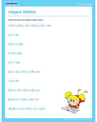 integers addition u2013 free algebra worksheet for 4th grade u2013 jumpstart