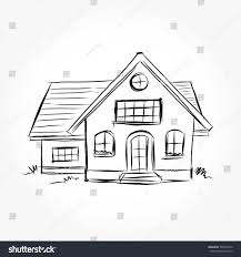 sketch house architecture drawing free hand stock vector 590234912