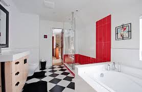 Bathroom With Black Walls Red Black And White Interiors Living Rooms Kitchens Bedrooms