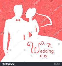 Wedding Day Cards From Groom To Bride Vector Illustrations Silhouette Bride Groom Wedding Stock Vector