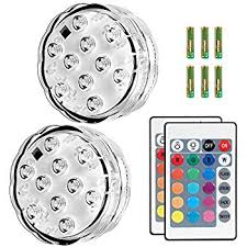 Waterproof Vase Lights Amazon Com Puroma 2 Pack Rgb Submersible Led Lights Remote