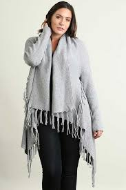 umgee clothing plus size fringe cardigan in gray