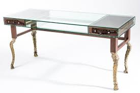 walnut desk brass glass new baroque design big crocco