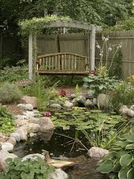 cottage landscape and yard with pond u0026 wood pergola zillow digs