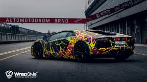 lamborghini aventador wrap lamborghini aventador with psychedelic wrap looks like an car