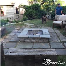 build a backyard fire pit stone patio diy fire pit u0026 wood beam benches lehman lane