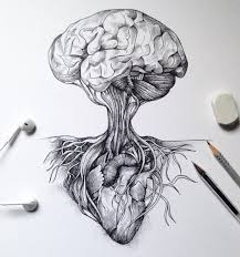 brain as a tree and heart for roots art tattoo ideas
