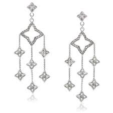 diamond chandelier earrings david yurman sterling silver quatrefoil diamond chandelier earrings