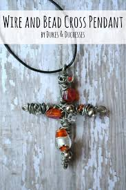 bead cross pendant necklace images Wire and bead cross pendant dukes and duchesses jpg