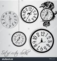 set decorative vector illustrated clocks stock vector 118144129