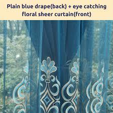 Sheer Blue Curtains Blue Floral Curtains Drape Sheer Eyelet Rod Pocket Pleat Blackout