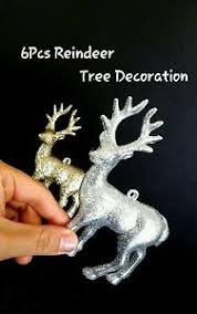 Silver Christmas Reindeer Decorations by 6pcs Glitter Gold Silver Christmas Tree Reindeer Decoration