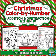 free christmas color number addition u0026 subtraction 10