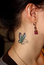 pretty blue butterfly side neck tattoo in 2017 real photo