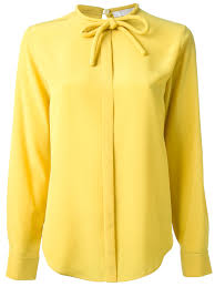yellow blouse lyst chloé bow blouse in yellow