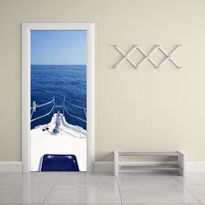 home decor creative diy 3d door stickers motorboat yacht decal for