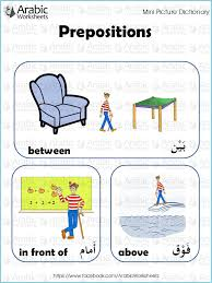arabic english picture dictionary prepositions learn arabic for