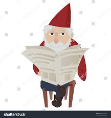 classic garden gnome reading newspaper sitting stock vector