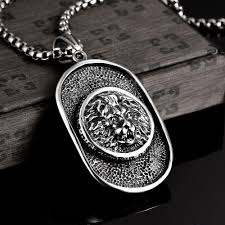 man titanium necklace images Brand titanium lion head dog tag man pendant necklaces punk style jpg
