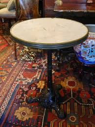 round cast iron table cast iron base and marble top round bistro or cafe table 19th